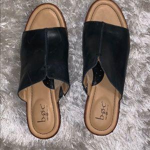 Black slip on wedge heels